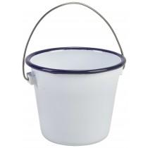 {Genware Enamel Bucket Blue Rim 10cm Diameter}