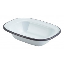 Berties Enamel Pie Dish White with Grey Rim 16x12cm