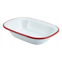 Berties Enamel Pie Dish White with Red Rim 20x15cm
