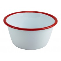 Berties Enamel Deep Pie Dish White with Red Rim 12cm Diameter