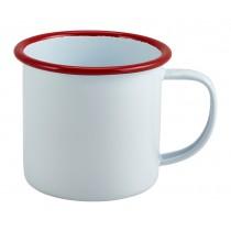 Berties Enamel Mug White with Red Rim 36cl-12.5oz