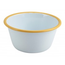 Berties Enamel Deep Pie Dish White with Yellow Rim 12cm Diameter