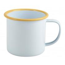 Berties Enamel Mug White with Yellow Rim 36cl-12.5oz