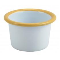 Berties Enamel Ramekin White with Yellow Rim 7cm Diameter 9cl-3.2oz