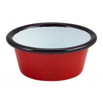 Berties Enamel Ramekin Red with Black Rim 8cm Diameter 9cl-3.2oz