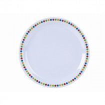 Genware Melamine Narrow Rim Plate Coloured Circles 23cm/9""