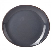 Terra Stoneware Oval Plate Blue 25cm-9.8""