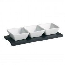Genware Wooden Dip Tray Base Black 27x10cm With 3 Dip Dishes