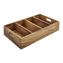 Genware Acacia Wood 4 Compartment Cutlery Tray GN 1/1