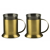 {La Cafetiere Brushed Gold & Glass Cups 20cl/6.5oz}