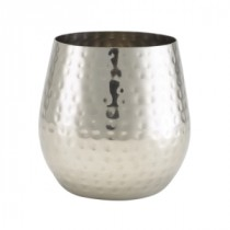 Berties Stainless Steel Hammered Stemless Wine Glass 55cl-19.25oz