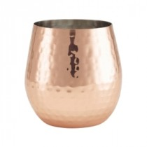 Berties Copper Hammered Stemless Wine Glass 55cl-19.25oz