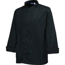 "Genware Basic Stud Chef Jacket Long Sleeve Black XS 32""-34"""