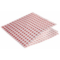 {Berties Greaseproof Paper Bags Gingham Red 17.5cm}