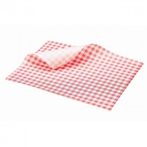Berties Greaseproof Paper Gingham Red 25x20cm