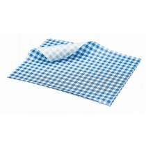 Berties Greaseproof Paper Gingham Blue 25x20cm