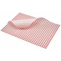 Berties Greaseproof Paper Gingham Red 35x25cm