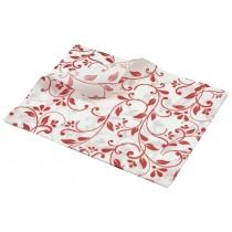 Berties Greaseproof Paper Floral Red 25x20cm