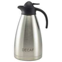 Genware Decaf Inscribed Stainless Steel Contemporary Vacuum Jug 2L