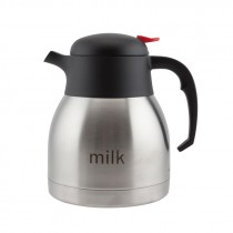 Genware Inscribed Push Button Vacuum Jug 1.2L Milk