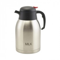 Genware Milk Inscribed Stainless Steel Push Button Vacuum Jug 2L