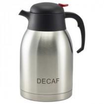 Genware Decaf Inscribed Stainless Steel Push Button Vacuum Jug 2L