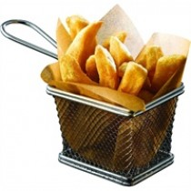 Genware Stainless Steel Serving Fry Basket 12.5x10x8.5cm