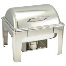 Genware Stainless Steel Roll Top Soft Close Chafing Dish 4L