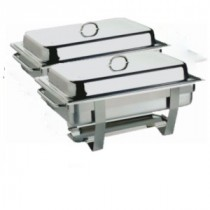 Genware Stainless Steel Value Chafing Dish Twin Pack