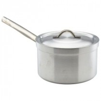 Genware Aluminium Heavy Duty Saucepan and Lid 18cm, 3L