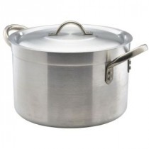 Genware Aluminium Medium Duty Stewpan and Lid 24cm, 7L