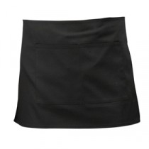 Genware Short Apron with Pocket Black 70cm x 37cm