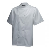 "Genware Basic Stud Chef Jacket Short Sleeve White XS 32""-34"""