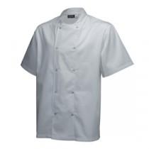 """Genware Basic Stud Chef Jacket Short Sleeve White XS 32""""-34"""""""