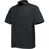 "Genware Basic Stud Chef Jacket Short Sleeve Black  XS 32""-34"""