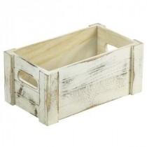 Genware Wooden Crate White Wash 27x16x12cm
