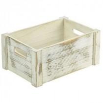 Genware Wooden Crate White Wash 34x23x15cm