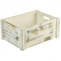 Genware Wooden Crate White Wash 41x30x18cm