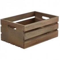 Genware Wooden Crate Dark Rustic 34x23x15cm