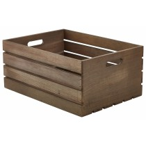 Genware Wooden Crate Dark Rustic 41x30x18cm