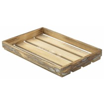Genware Wooden Display Crate Dark Rustic 35x23x4cm