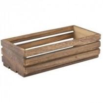 Genware Wooden Crate Dark Rustic 25x12x7.5cm