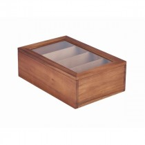 Genware Acacia Wood Tea Box 30x20x10cm