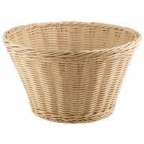 {Genware Polywicker Round Display Basket Natural 26cm Diameter}
