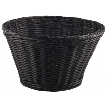 {Genware Polywicker Round Display Basket Black 26cm Diameter}