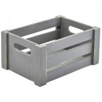 Genware Wooden Crate Grey 22.8x16.5x11cm