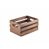 Genware Dark Rustic Wood Crate 21.5x15x10.8cm