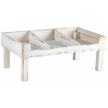{Genware Wooden Crate Stand Rustic White Wash 53x32x21cm}