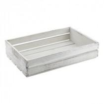 Genware Wooden Crate White Wash 35x23x8cm