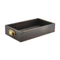 Genware Acacia Wood Display Drawer Black Wash GN 1/3 7cm